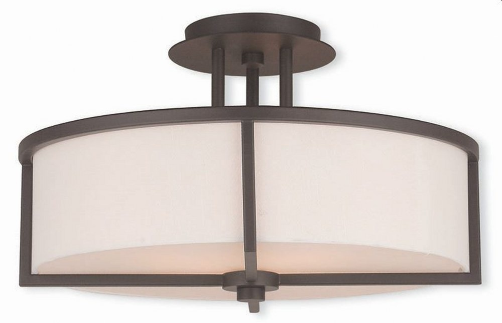 Livex Lighting-51074-07-Wesley - 3 Light Semi-Flush Mount  Bronze Finish with Off-White Fabric Shade