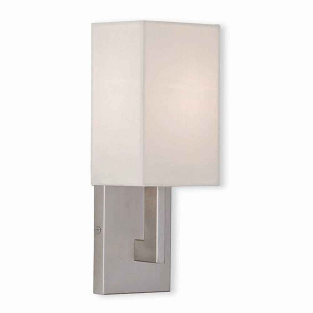 Livex Lighting-51101-91-Hollborn - 1 Light ADA Wall Sconce  Brushed Nickel Finish with Off White Fabric Shade