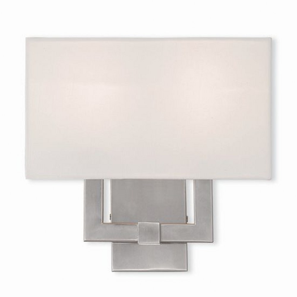 Livex Lighting-51103-91-Hollborn - 2 Light ADA Wall Sconce  Brushed Nickel Finish with Off White Fabric Shade