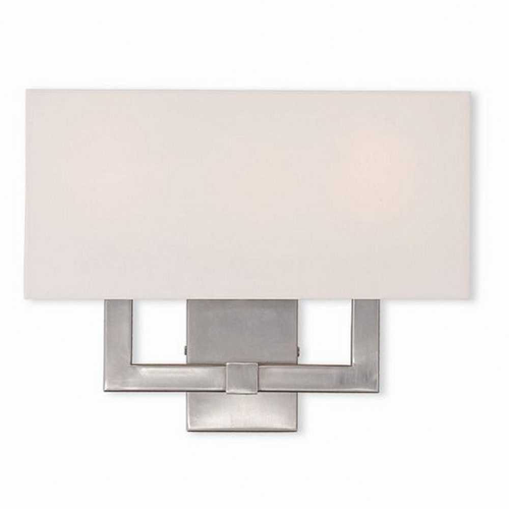 Livex Lighting-51104-91-Hollborn - 3 Light Wall Sconce  Brushed Nickel Finish with Off White Fabric Shade