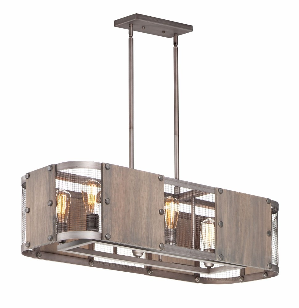 Maxim Lighting-25268BWWZ-Outland - Six Light Pendant  Barn Wood/Weathered Zinc Finish