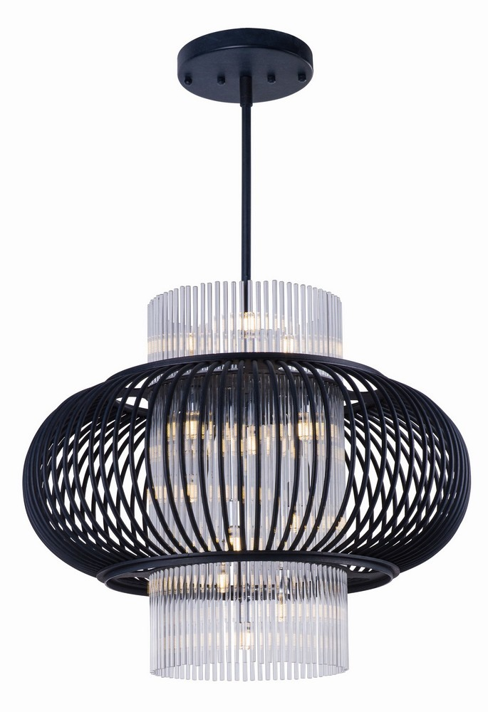 Maxim Lighting-38387CLAR-Aviary Pendant 1 Light  Anthracite Finish with Clear Glass