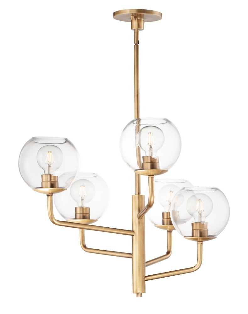 Maxim Lighting-38415CLNAB-Branch - Five Light Chandelier  Natural Aged Brass Finish with Clear Glass