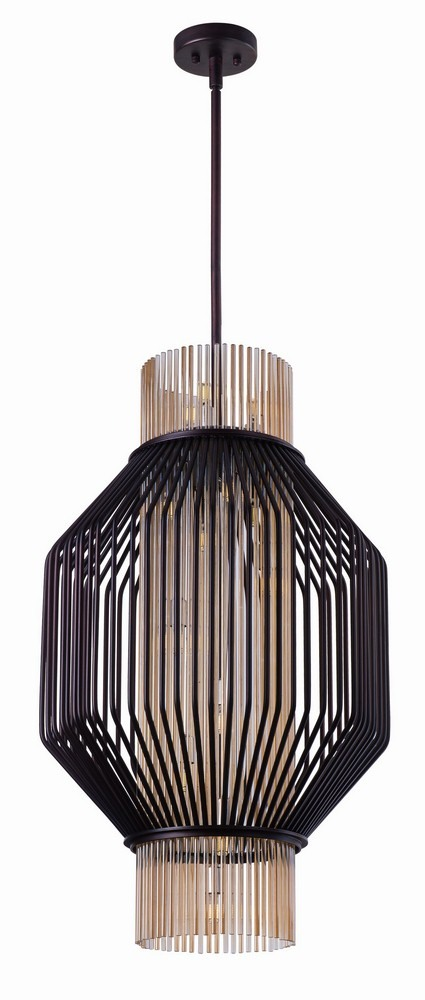 Maxim Lighting-38484CGOI-Aviary Pendant 1 Light  Oil Rubbed Bronze Finish with Cognac Glass