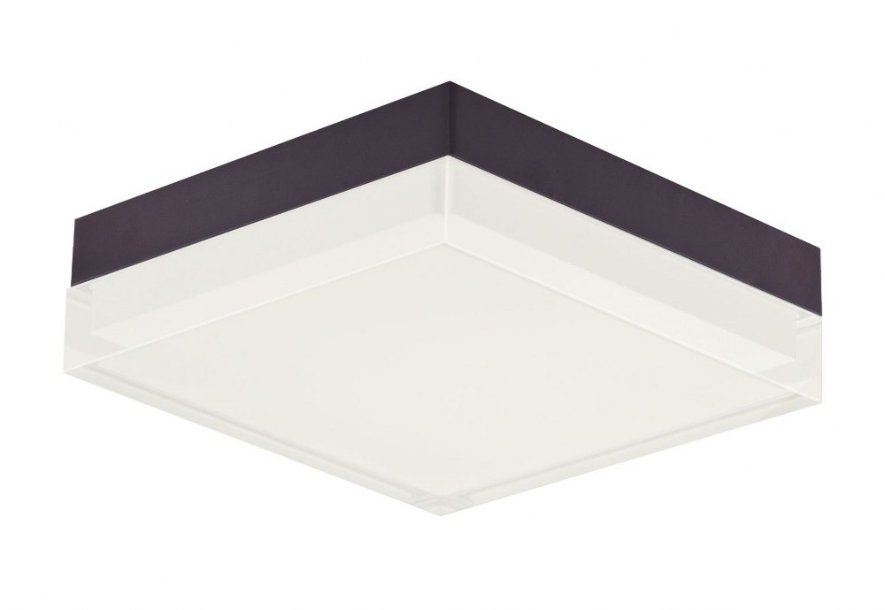 Maxim Lighting-57687CLFTBZ-Illuminaire II - 6.25 Inch 15W 1 LED Square Flush Mount  Bronze Finish with Clear/Frosted Glass