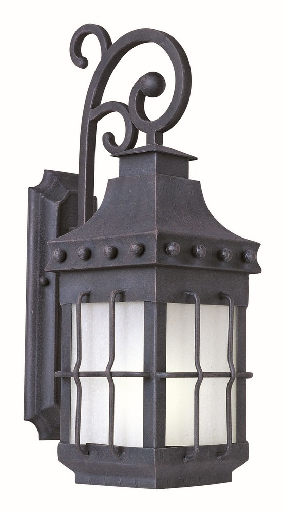 Maxim Lighting-86084FSCF-Nantucket - One Light Outdoor Wall Mount  Country Forge Finish with Frosted Seedy Glass
