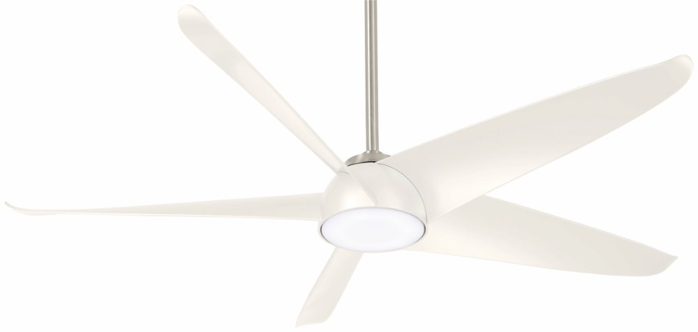 Minka Aire Fans-F771L-BN/WH-Ellipse - 60 Inch Ceiling Fan with Light Kit  Brushed Nickel/White Finish with White Blade Finish with Etched Glass