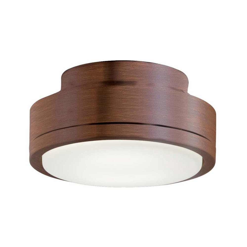 Minka Aire Fans-K9727L-DK-Rudolph - 6.75 Inch 16W 1 LED Ceiling Fan Light Kit  Distressed Koa Finish with Etched Swirl Glass