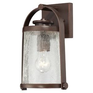 Minka Great Outdoors-72331-291-Travessa - One Light Outdoor Wall Mount  Architectual Bronze/Copper Finish with Crackle Glass