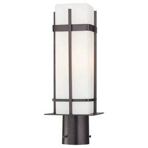 Minka Great Outdoors-72356-615B-PL-Sterling Heights - 17 Inch One Light Outdoor Wall Mount  Dorian Bronze Finish with Etched Opal Glass