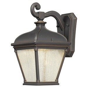 Minka Great Outdoors-72392-143C-Lauriston Manor - 13 Inch 10W 1 LED Outdoor Wall Mount  Oil Rubbed Bronze/Gold Finish with Clear Seeded Glass