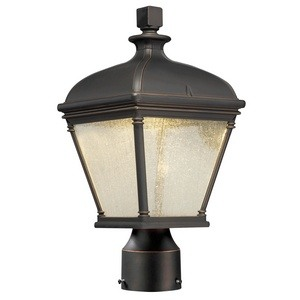 Minka Great Outdoors-72396-143C-Lauriston Manor - 15 Inch 10W 1 LED Outdoor Post Mount  Oil Rubbed Bronze/Gold Finish with Clear Seedy Glass