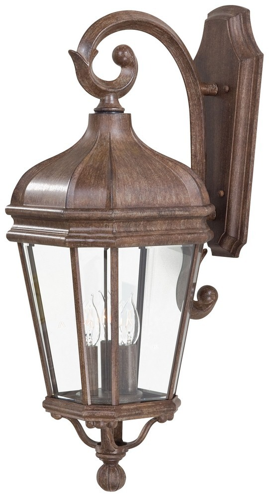 Minka Great Outdoors-8692-61-Harrison - Three Light Outdoor Wall Mount  Vintage Rust Finish with Clear Beveled Glass