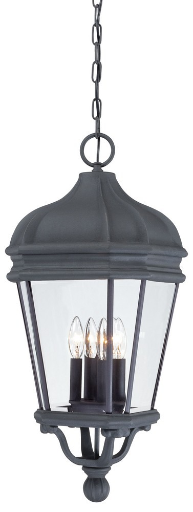 Minka Great Outdoors-8694-66-Harrison - Four Light Outdoor Chain Hung Lantern  Black Finish with Clear Beveled Glass