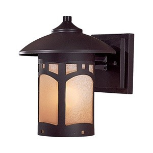 Minka Great Outdoors-8721-A615B-Harveston Manor - 9 Inch One Light Outdoor Wall Mount  Dorian Bronze Finish with French Scavo Glass