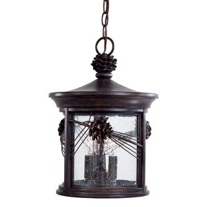 Minka Great Outdoors-9154-A357-Abbey Lane - Three Light Outdoor Chain Hung Lantern  Iron Oxide Finish with Seedy Glass