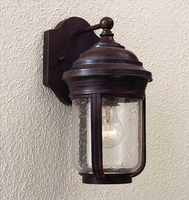 Minka Great Outdoors-8810-57-Amherst - 13 Inch One Light Outdoor Wall Mount  Roman Bronze Finish with Clear Seeded Glass