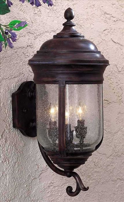 Minka Great Outdoors-8815-57-Amherst - 22 Inch Three Light Outdoor Wall Mount  Roman Bronze Finish with Clear Seeded Glass