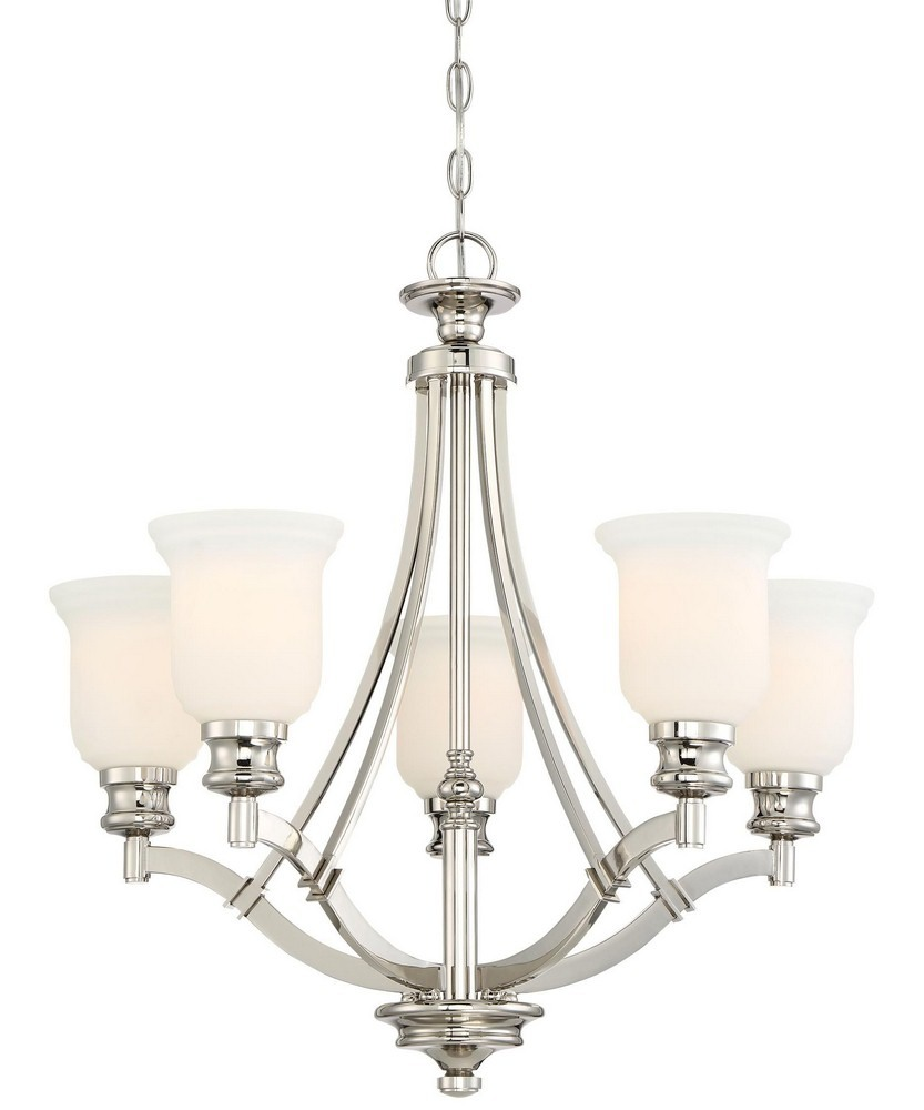 Minka Lavery-3295-613-Audrey'S Point Chandelier 5 Light Polished Nickel  Polished Nickel Finish with Etched Opal Glass