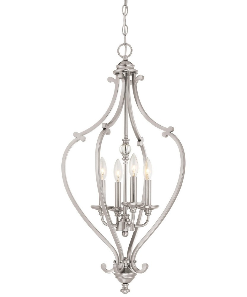 Minka Lavery-3333-84-Savannah Row Chandelier 4 Light Brushed Nickel  Brushed Nickel Finish with Clear Glass