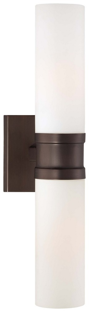 Minka Lavery-4462-647-4.25 Inch Two Light Wall Sconce  Copper Bronze Patina Finish with Etched Opal Glass