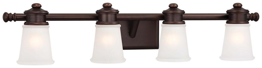 Minka Lavery-4534-267B-4 Light  Bath Vanity  Dark Brushed Bronze Finish with Etched White Glass