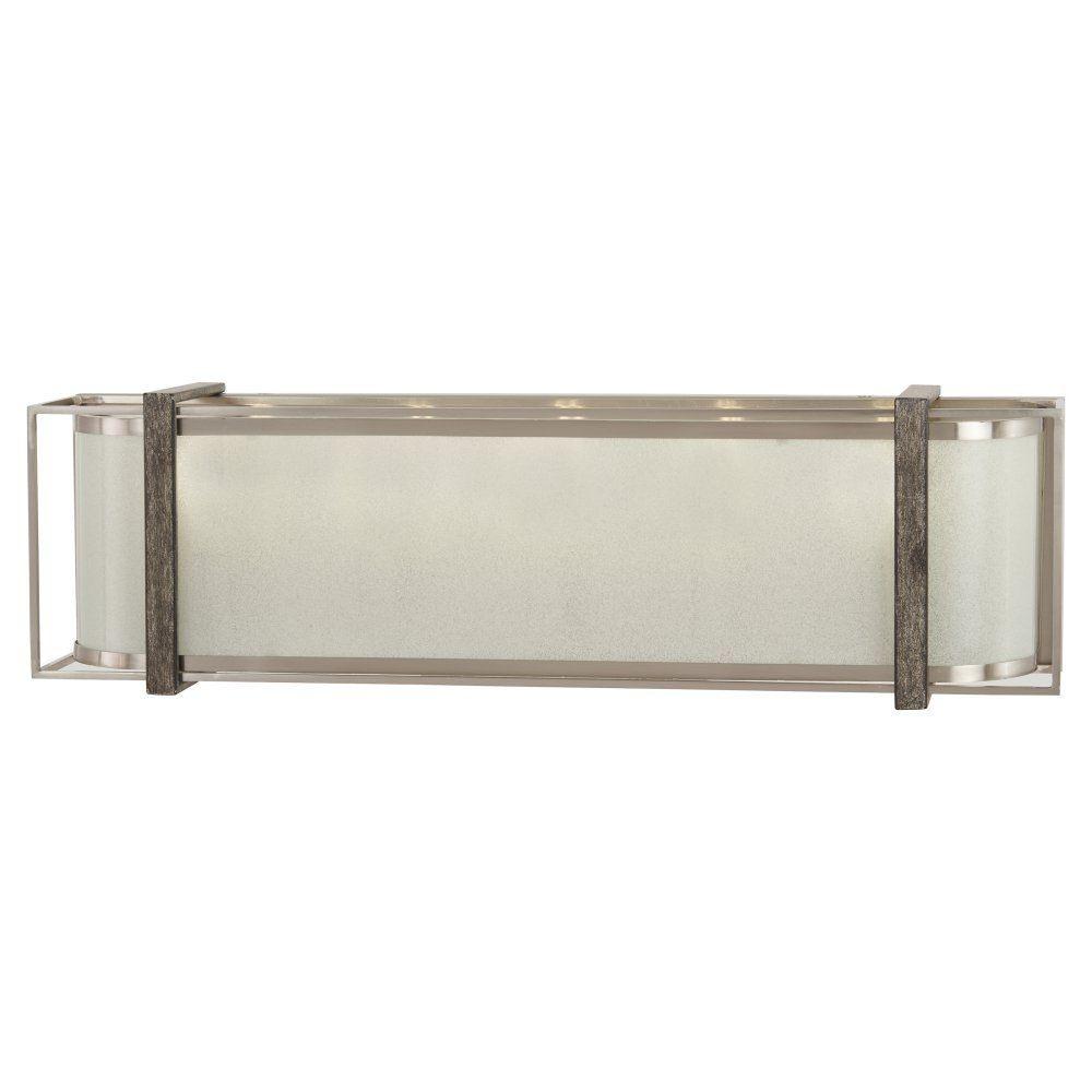 Minka Lavery-4565-098-Tyson'S Gate 5 Light  Bath Vanity  Brushed Nickel/Shale Wood Finish with White Iris Glass