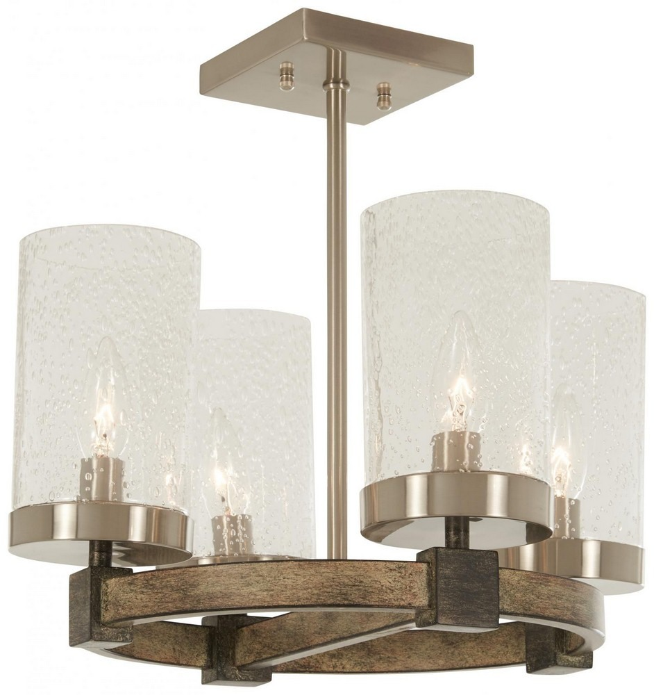 Minka Lavery-4637-106-Bridlewood - Four Light Semi-Flush Mount  Stone Grey/Brushed Nickel Finish with Clear Seeded Glass