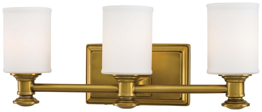 Minka Lavery-5173-249-Harbour Point 3 Light Transitional Bath Vanity  Liberty Gold Finish with Etched Opal Glass