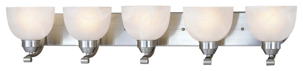 Minka Lavery-5425-84-Paradox 5 Light Transitional Bath Vanity  Brushed Nickel Finish with Etched Marble Glass