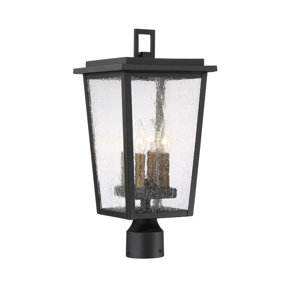 Minka Lavery-72756-66G-Cantebury - Four Light Outdoor Post Lantern  Black/Gold Finish with Clear Seeded Glass