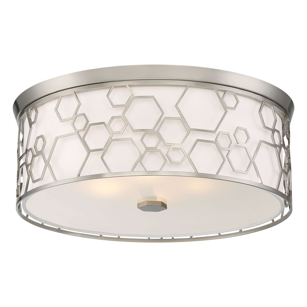 Minka Lavery-845-84-L-17 Inch 4 LED Flush Mount  Brushed Nickel Finish with Frosted Glass with White Linen Shade