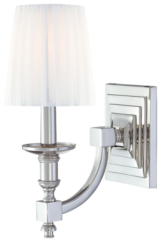 Minka Metropolitan Lighting-N2641-613-Continental Classics - One Light Wall Sconce  Polished Nickel Finish with White Cloth Shade