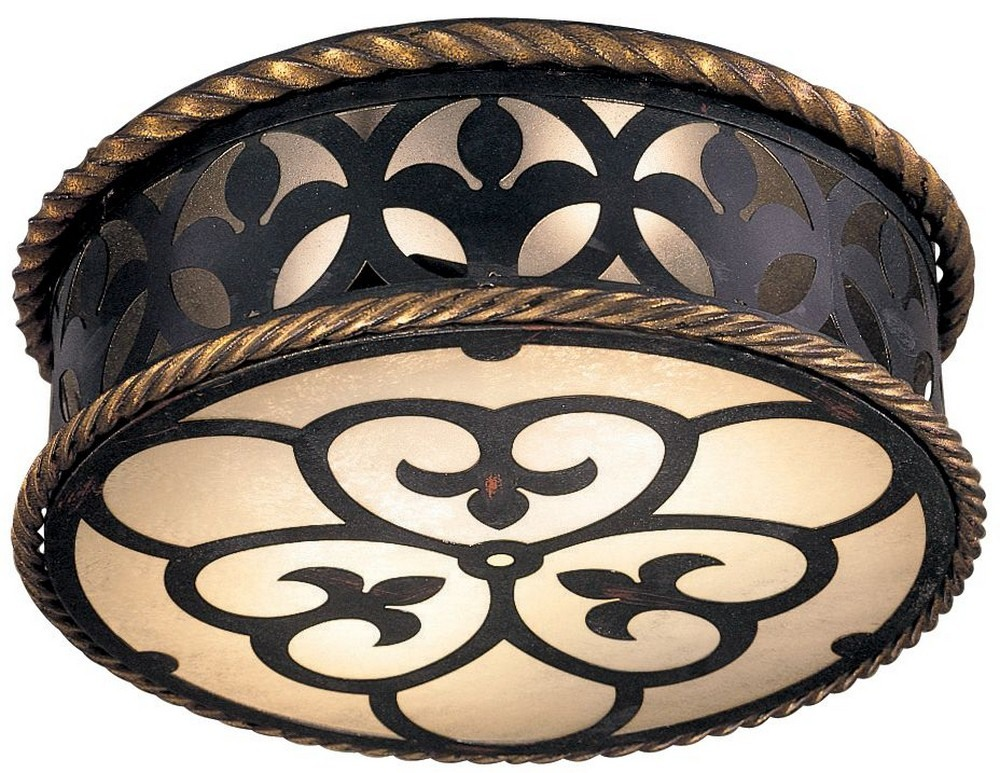 Minka Metropolitan Lighting-N6109-20-Montparnasse - Two Light Flush Mount  French Black/Gold Leaf Finish with French Scavo Glass