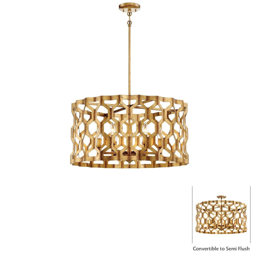 Minka Metropolitan Lighting-N6776-293-Coronade - Six Light Convertible Pendant  Pandora Gold Leaf Finish