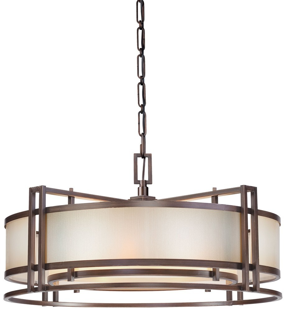 Minka Metropolitan Lighting-N6965-1-267B-Underscore - Four Light Drum Pendant  Cimmaron Bronze Finish with Brushed Caramel Silk Glass
