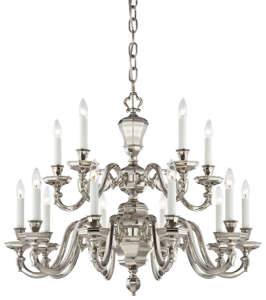 Minka Metropolitan Lighting-N1117-613-Casoria - Fifteen Light Chandelier  Polished Nickel Finish