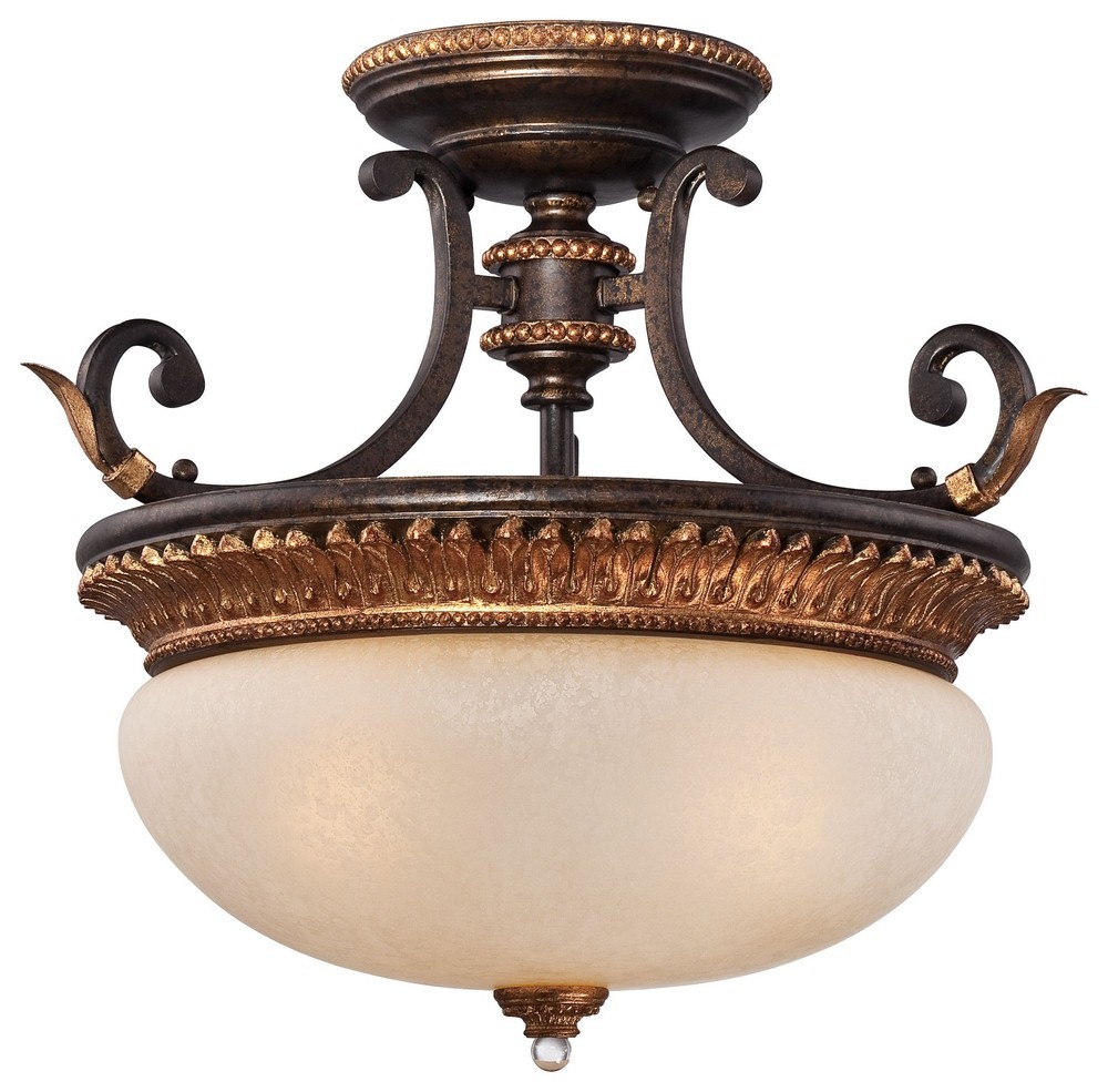 Minka Metropolitan Lighting-N6642-258B-Bella Cristallo - Three Light Semi-Flush Mount  French Bronze/Gold Finish with Champagne Scavo Glass
