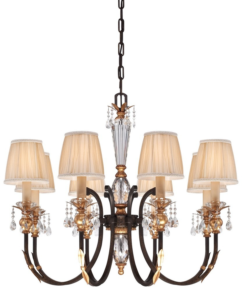 Minka Metropolitan Lighting-N6648-258B-Bella Cristallo - Eight Light Chandelier  French Bronze/Gold Finish with Pleated Champagne Fabric Shade with Eidolon Crystal