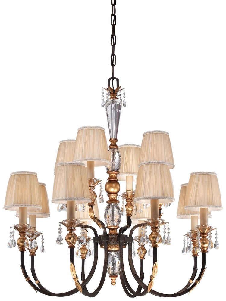 Minka Metropolitan Lighting-N6649-258B-Bella Cristallo - Twelve Light Chandelier  French Bronze/Gold Finish with Pleated Champagne Fabric Shade with Eidolon Crystal