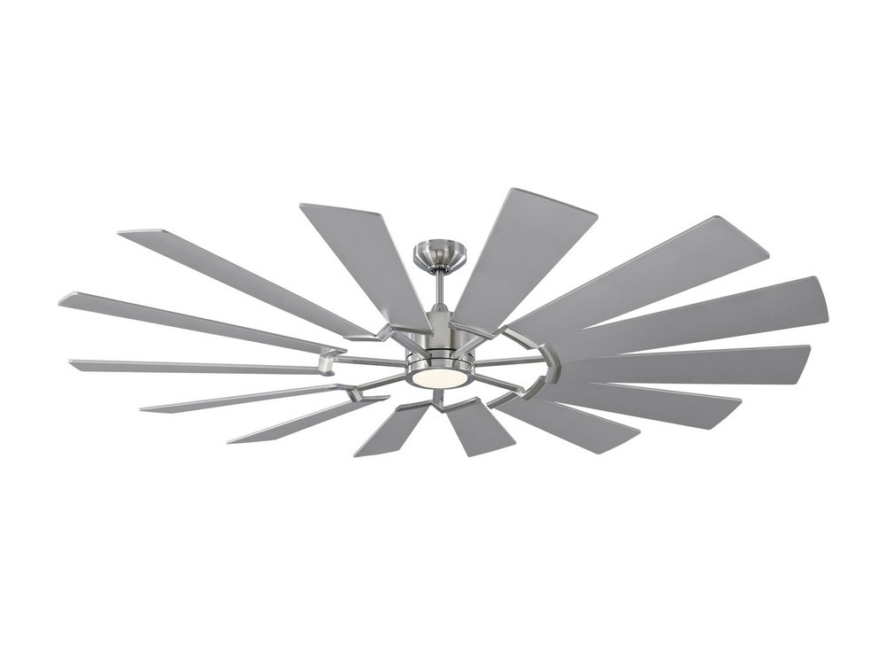 Monte Carlo Fans-14PRR72BSD-Prairie 72 14 Blade 72 Inch Ceiling Fan with Handheld Control and Includes Light Kit  Brushed Steel Finish with Washed Oak Blade Finish with Frosted Glass