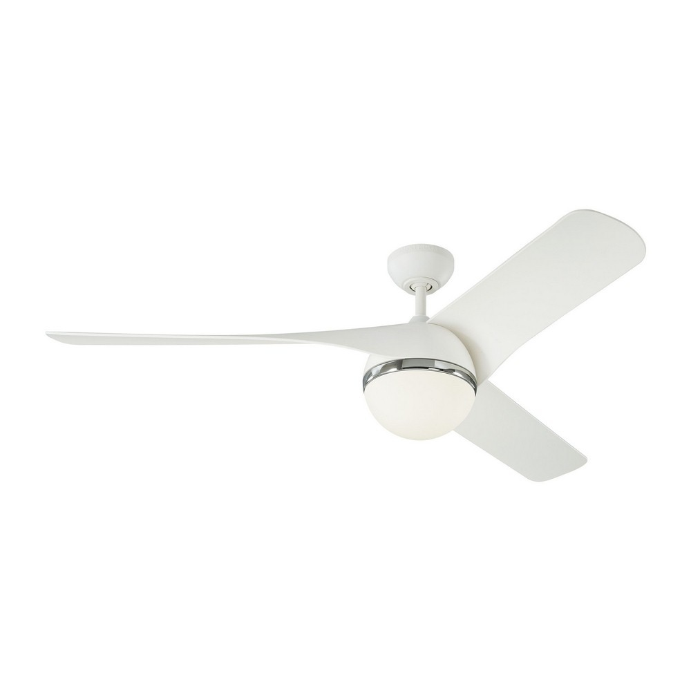 Monte Carlo Fans-3AKR56RZWD-Akova LED 3 Blade 56 Inch Ceiling Fan with Handheld Control and Includes Light Kit  Matte White Finish with Matte White Blade Finish with Opal Etched Glass