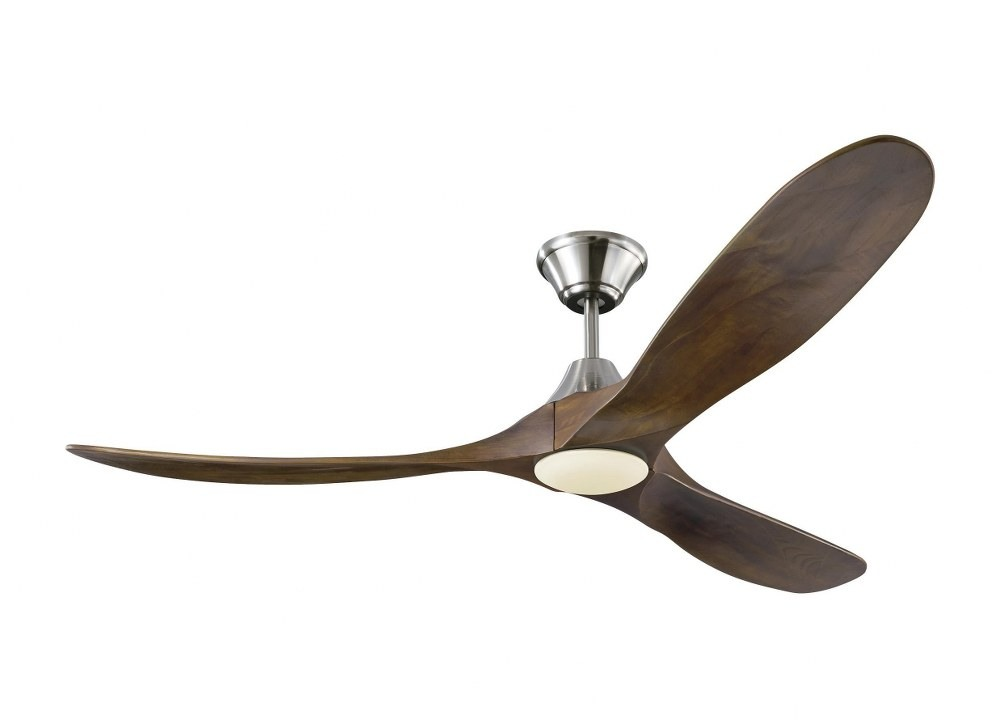 Monte Carlo Fans-3MAVR60BSD-Maverick LED 3 Blade 60 Inch Ceiling Fan with Handheld Control and Includes Light Kit  Brushed Steel Finish with Dark Walnut Blade Finish with Opal Etched Glass