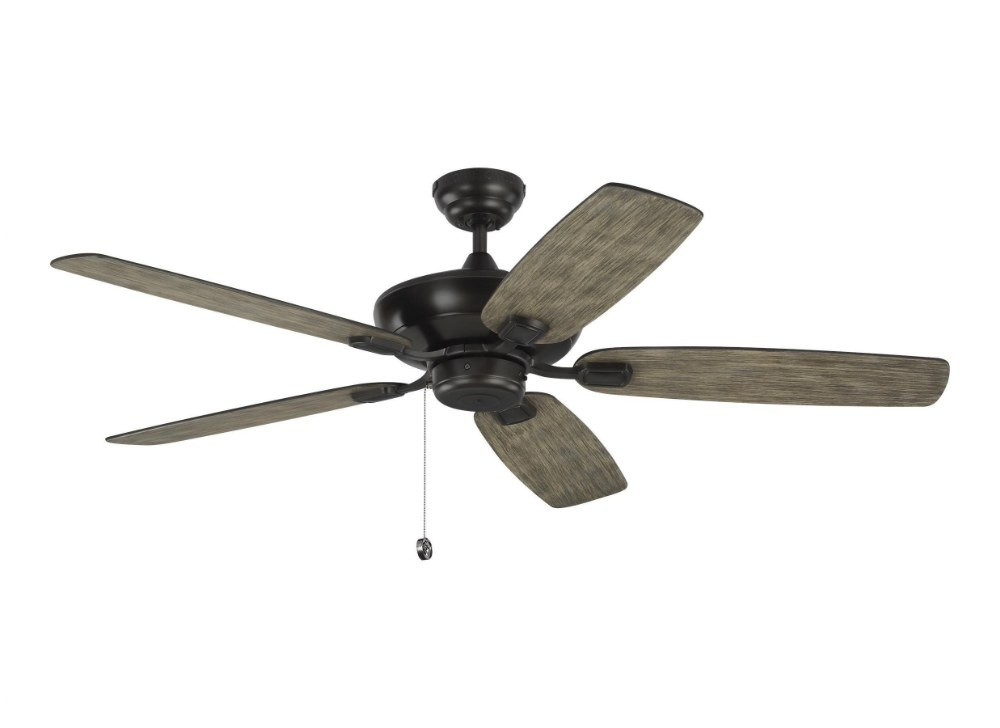 Monte Carlo Fans-5COM52AGP-Colony Max 5 Blade 52 Inch Ceiling Fan with Pull Chain Control  Aged Pewter Finish with Light Grey Weathered Oak Blade Finish