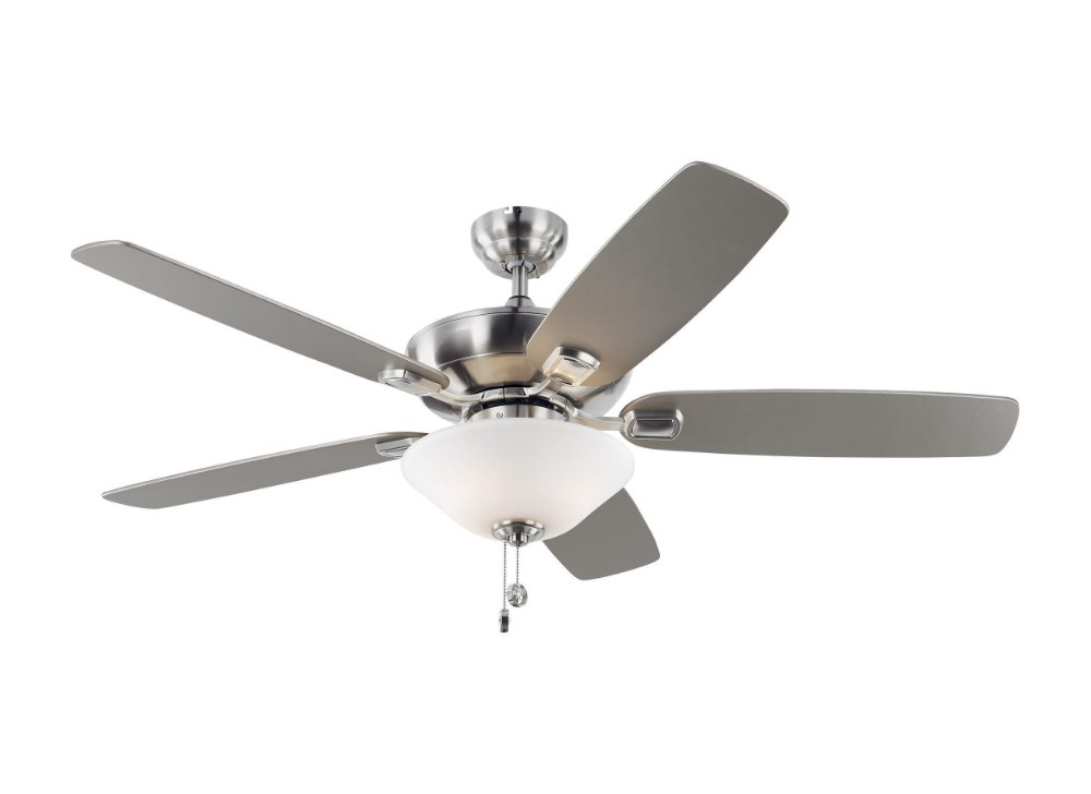 Monte Carlo Fans-5COM52BSD-V1-Colony Max 5 Blade 52 Inch Ceiling Fan with Pull Chain Control and Includes Light Kit  Brushed Steel Finish with Silver/American Walnut Blade Finish with Matte White Glass