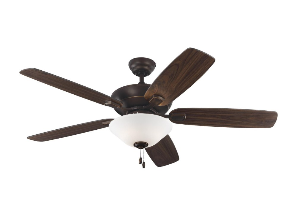 Monte Carlo Fans-5COM52RBD-V1-Colony Max 5 Blade 52 Inch Ceiling Fan with Pull Chain Control and Includes Light Kit  Roman Bronze Finish with Bronze/American Walnut Blade Finish with Matte White Glass