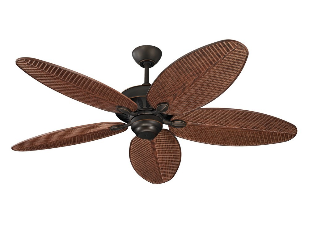 Monte Carlo Fans-5CU52RB-Cruise 5 Blade 52 Inch Outdoor Ceiling Fan with Pull Chain Control  Roman Bronze Finish with American Walnut Abs/Grain Blade Finish