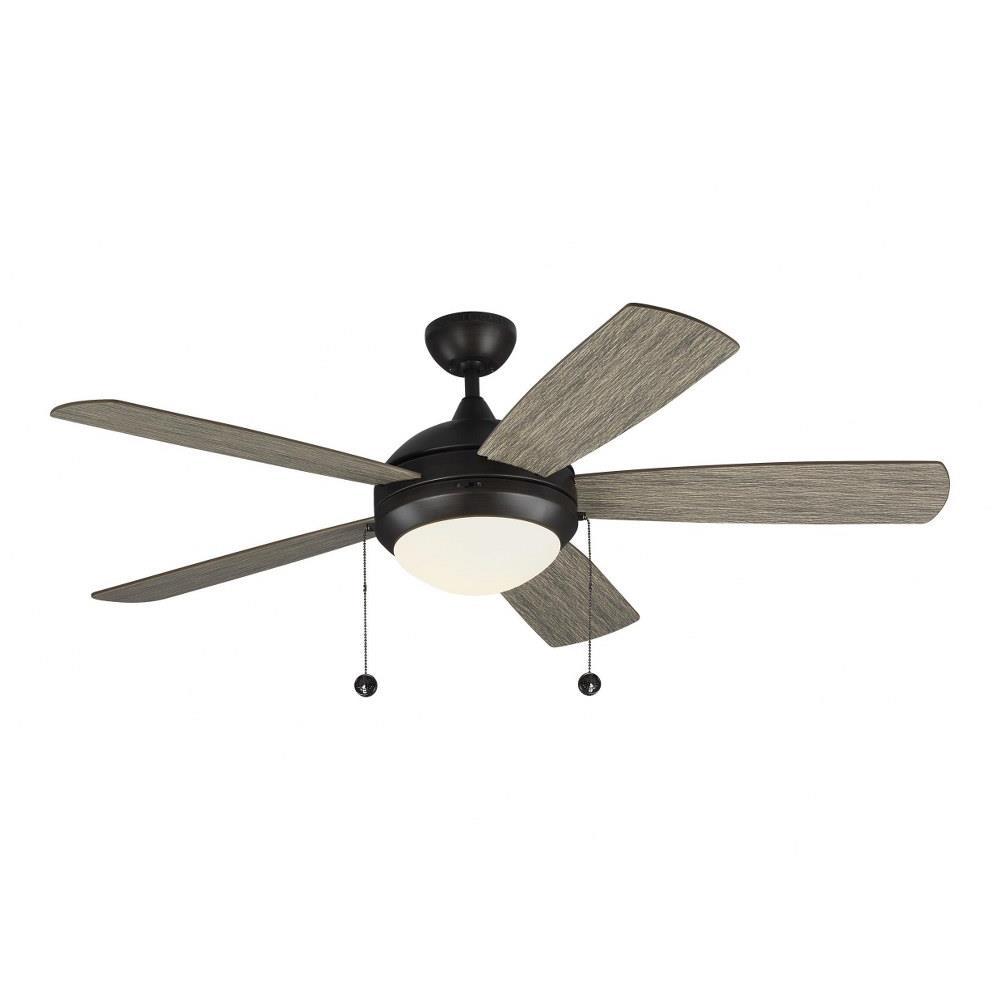 Monte Carlo Fans 5dic52 Discus Classic 5 Blade 52 Inch Ceiling Fan With Pull Chain Control And Includes Light Kit