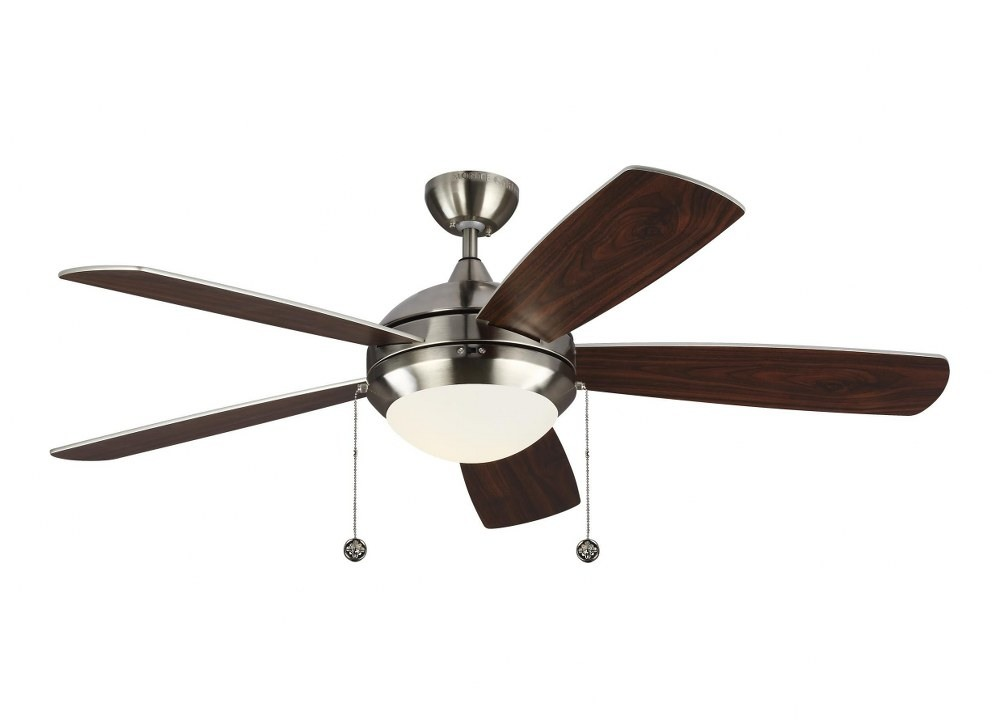Monte Carlo Fans-5DIC52BSD-V1-Discus Classic 5 Blade 52 Inch Ceiling Fan with Pull Chain Control and Includes Light Kit  Brushed Steel Finish with Silver Blade Finish with Matte Opal Glass