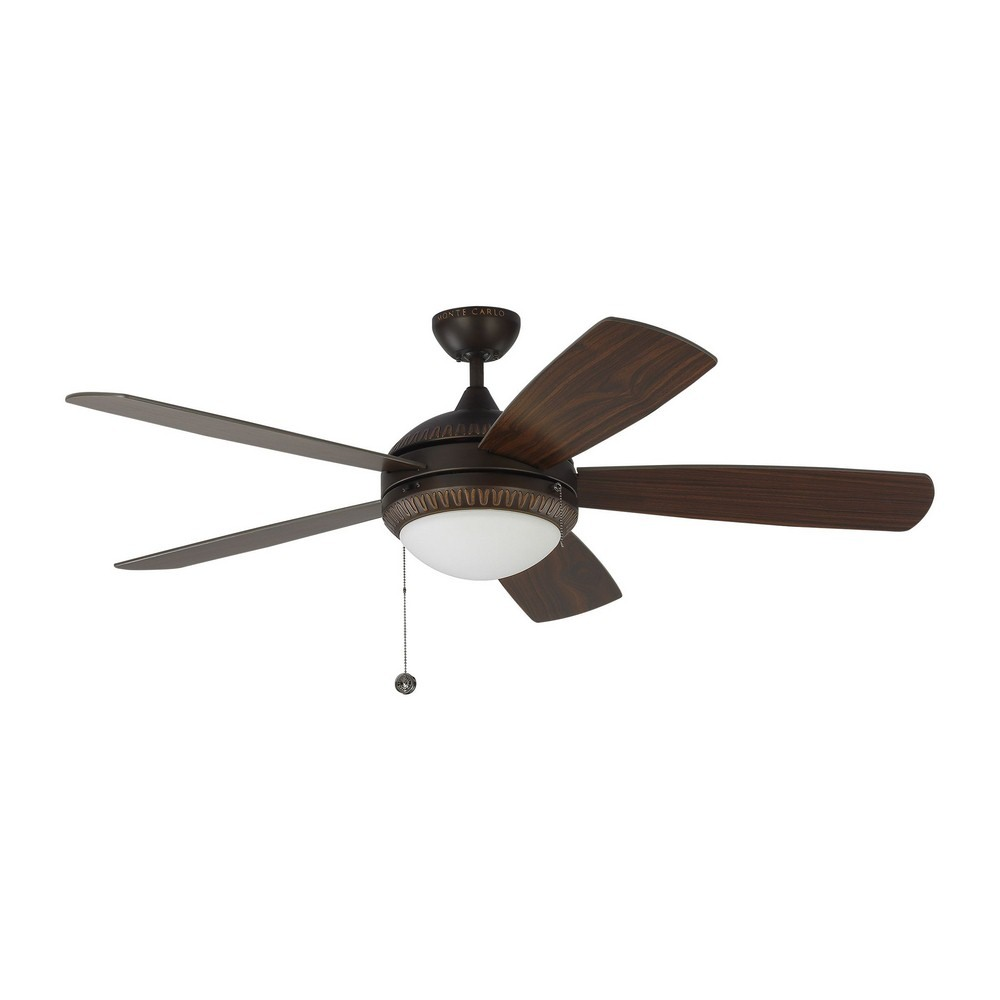 Monte Carlo Fans-5DIO52RBD-Discus Ornate 5 Blade 52 Inch Ceiling Fan with Pull Chain Control and Includes Light Kit  Roman Bronze Finish with American Walnut Blade Finish with Matte Opal Glass